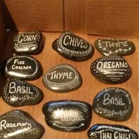 Stone herb name markers...alternative to the paddle pop stick