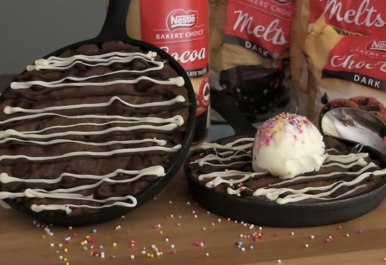 Nestle Triple Chocolate 'Skookie' (a cookie cooked in a skillet pan)