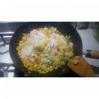 Pineapple rice noodle stir fry