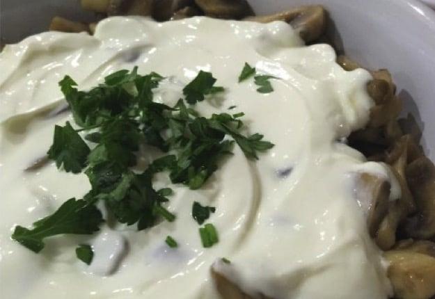 Sauteed mushroom with yoghurt