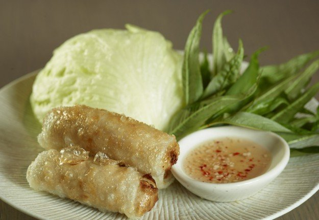 Han Noi style crispy rice paper rolls with Nouc Mam dipping sauce