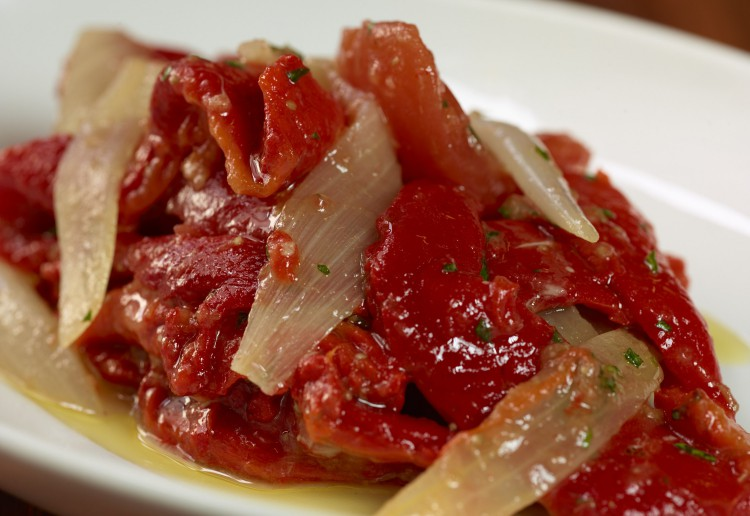 Roasted capsicum and tomato salad with cumin and sherry vinegar