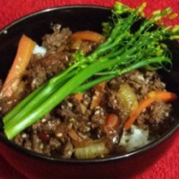 Asian mince beef with rice