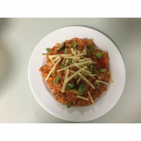 Tomato, bacon and vegetable risotto