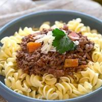 Beef/Lamb and Vegetable Spelt Spaghetti