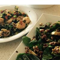 Prawns and salad