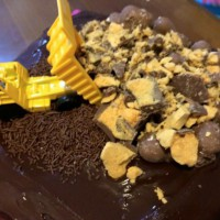 Chocolate tipping truck cake