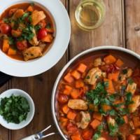 Zoe's Irish chicken, sweet potato and cherry tomato hot pot