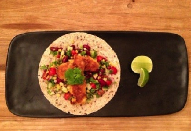 Crumbed fish tacos with Mexican bean salad