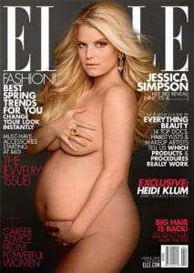 A pregnant Jessica Simpson in a nude cover photo for the April issue of Elle magazine