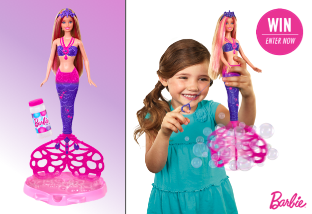 WIN 1 in 17 brand new Barbie® Bubble-tastic Mermaid™ dolls