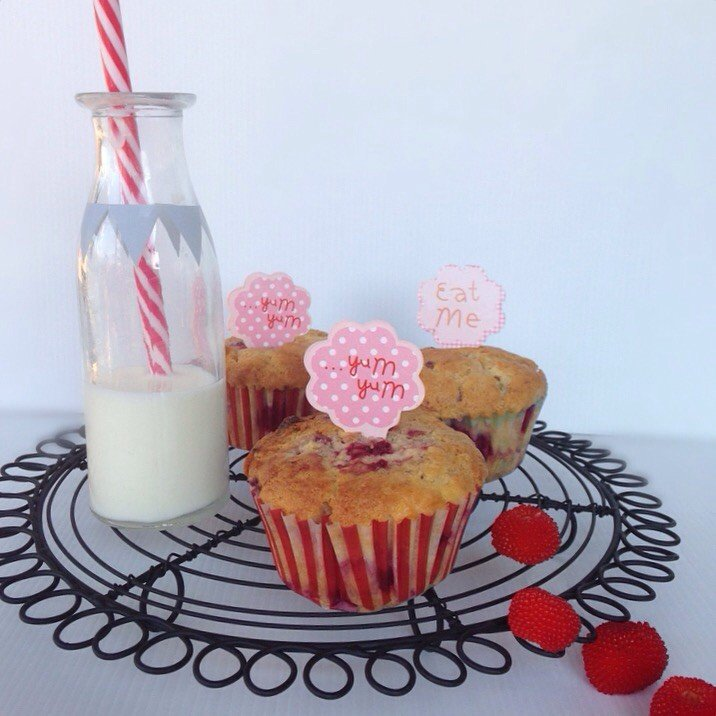 Raspberry, white chocolate and macadamia muffins