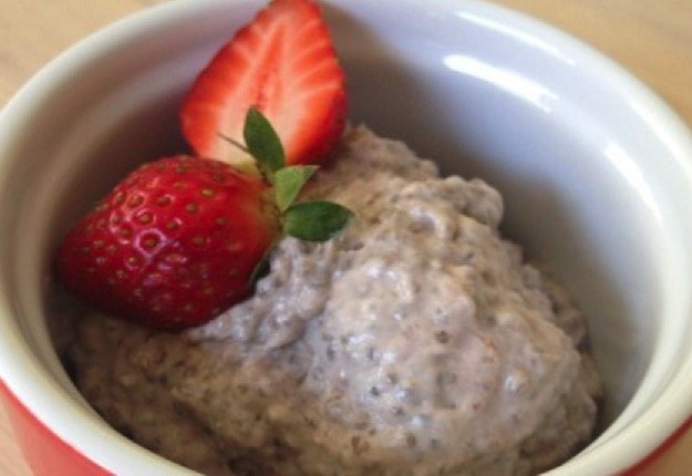 Strawberry and coconut chia pudding