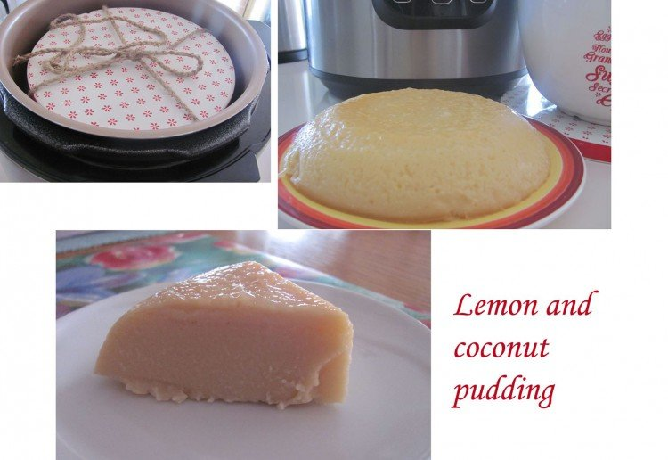 Lemon and coconut pudding
