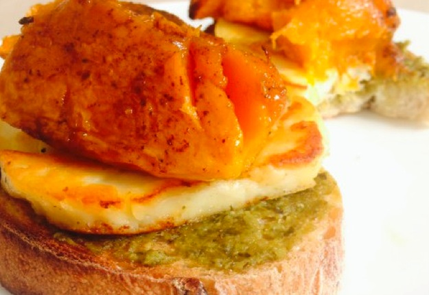 Leftovers inspiration – open pesto, haloumi and roast pumpkin sandwich