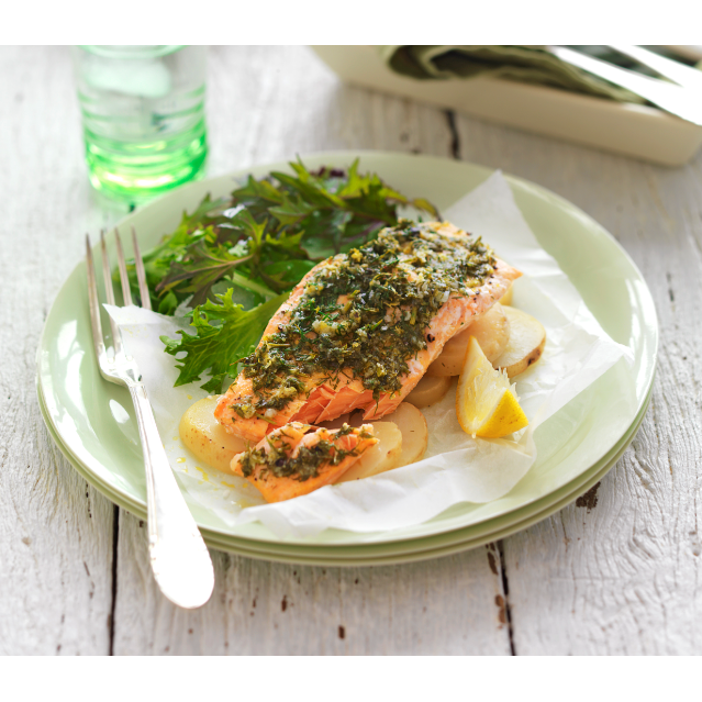 Barbecued salmon parcels
