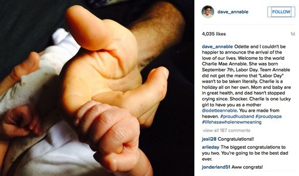 Brothers and Sisters star Dave Annable melts our heart_arrival announcement of charlie mae annable