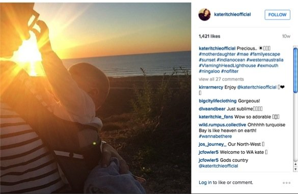 how kate ritchie is coping with being mum to mae_mae in pouch at sunset