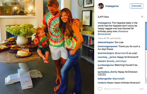 curtis stone and lindsay price throw a party for their sons first birthday_emerson with mum and dad go reggae