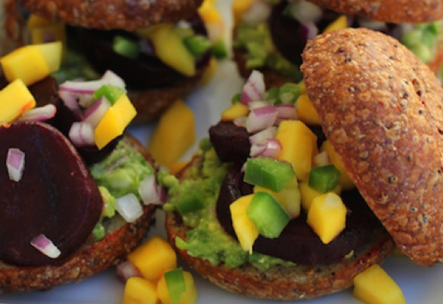 Grilled beet sliders with guacamole and mango salsa