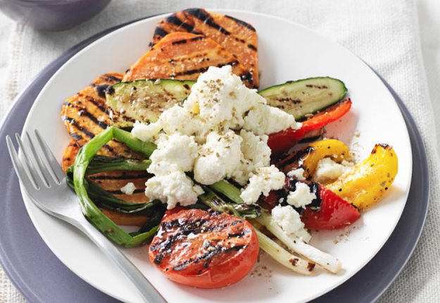Chargrilled vegetables with ricotta and fennel salt