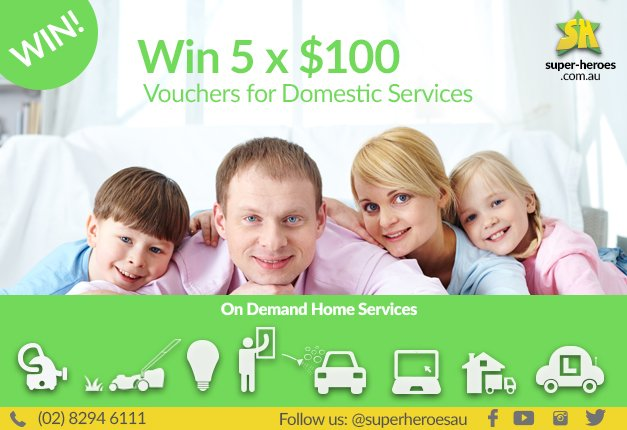 Win 5 x $100 vouchers for domestic services!