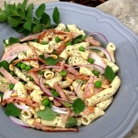 Poppy Seed Penne with Smoked Chicken, Bacon & Spring Greens