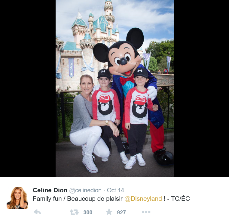 Celine Dion with twin boys _Twitter