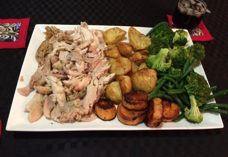 Slow cooked whole chicken dinner