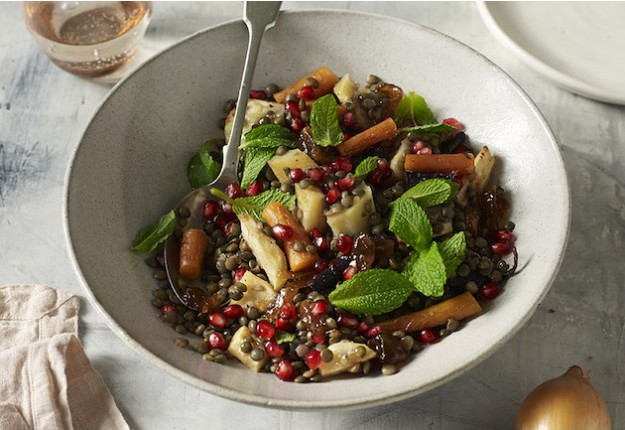 Roasted vegetable and lentil salad with caramelised onion relish