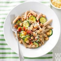 Zucchini, chickpea and semi-dried tomato pasta