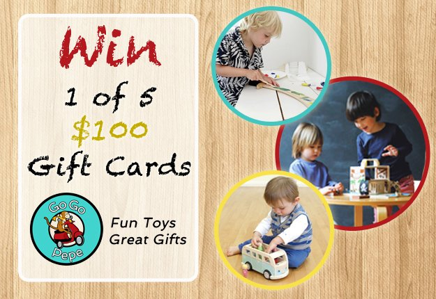 WIN 1 of 5 gift vouchers to the value of $100 from Go Go Pepe Toys