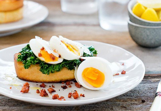 Soft boiled eggs, wilted greens and chorizo sprinkle on Stone Baked Ciabatta