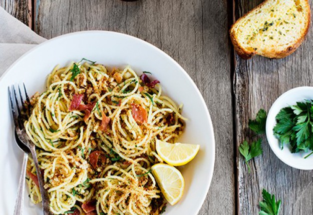 Spaghetti with Garlicky Parmesan and Onion Breadcrumbs and Crispy Pros