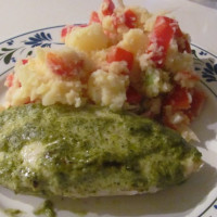 Pesto chicken with potato salad