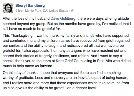 In the face of fresh grief sheryl goldberg still gives thanks facebook post on thanksgiving