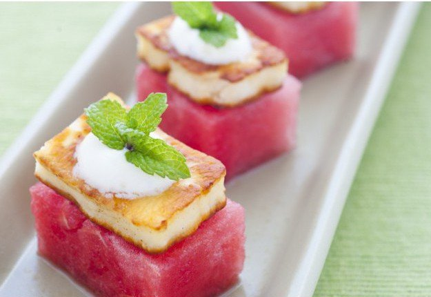 Haloumi and watermelon bites