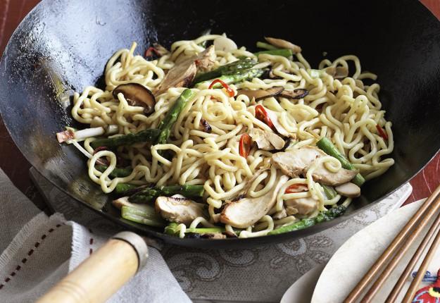 Leftover turkey and noodle stir fry