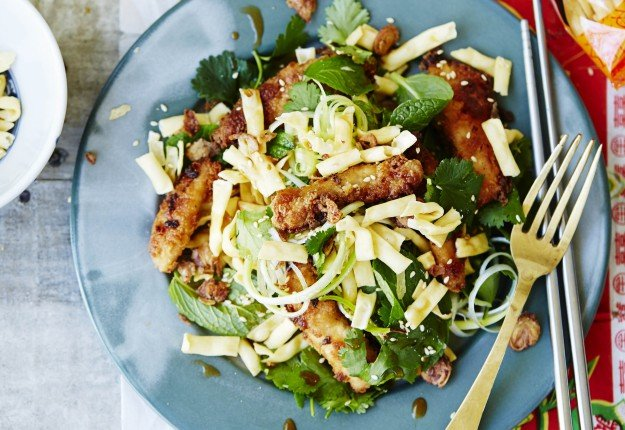 Sesame and Miso Glazed Chicken with Fresh and Crunchy Noodle Salad