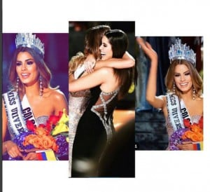 Miss Colombia's brief crowning as Miss. Universe before being told she was runner up. Image Source: www.instagram.com/gutierrezary/