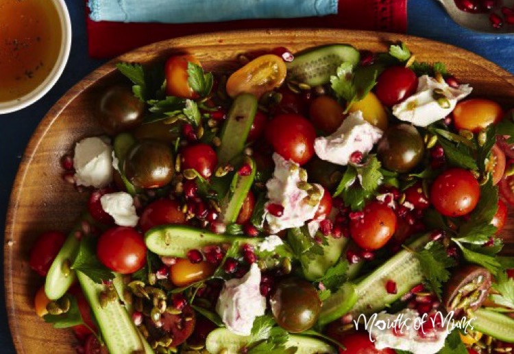 Tomato, cucumber and pomegranate salad