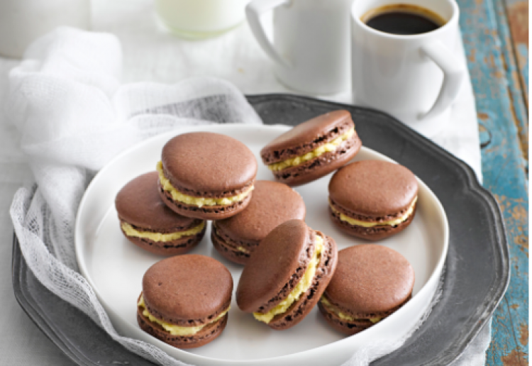 Chocolate and salted caramel macarons