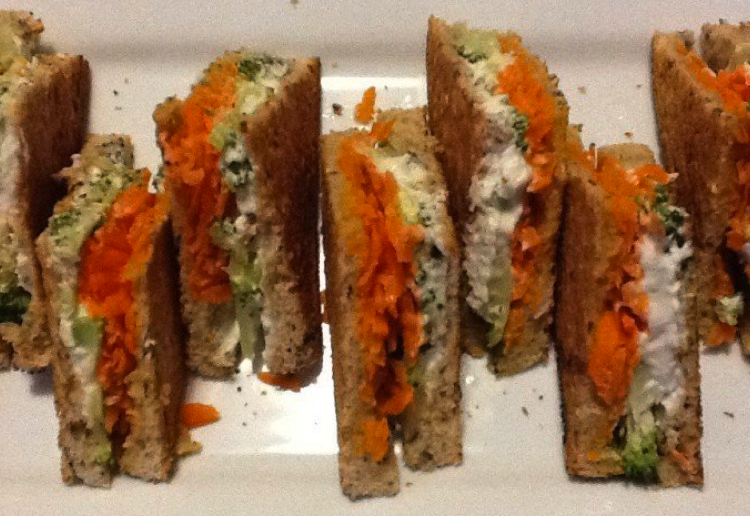 Goats milk cheese and broccoli toasties