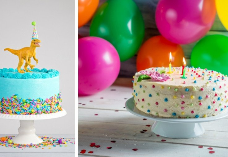 kids birthday cakes with colourful balloons in the background
