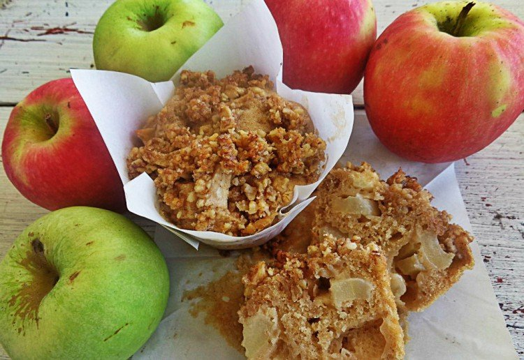 Apple muffins with apple crumble topping