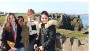 Aussie exchange students in Brussels: (From left) Mia Egerton-Warburton, 20; Dilusha Jayasekara, 21; Ellie Rose, 20; Jyotsna Singh, 22.  Image source: Facebook.