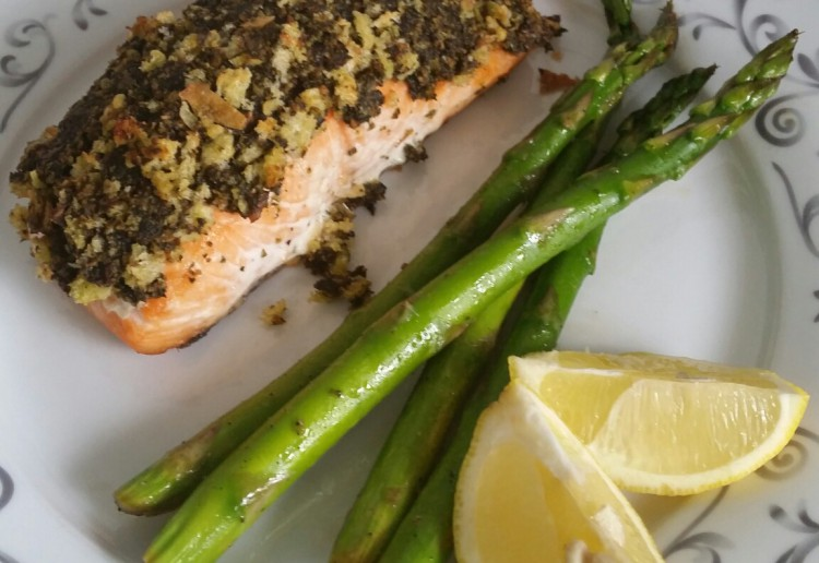 Pesto crumbed salmon with asparagus