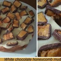 White chocolate honeycomb mud cake