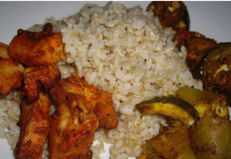 Tandoori chicken and roasted indian vegetable curry