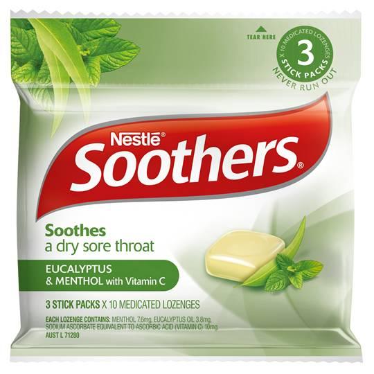 Soothers Throat Lozenge Eucalyptus & Menthol